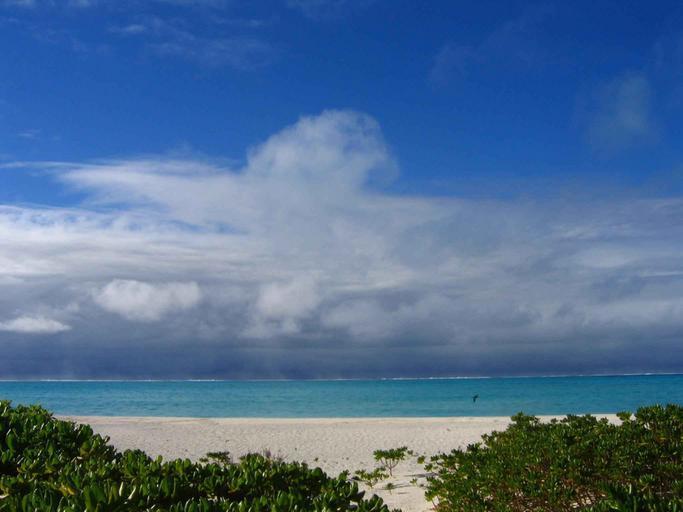 Pláž, more, zelené kríky a modrá obloha